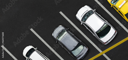 Top view of Cars on parking lot