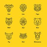 Animal Head Face Vector Emblem Minimalistic Geometric Line Icon Set. Cow, Lion, Tiger, Pig, Owl, Rhinoceros, Wolf, Ape, Bear