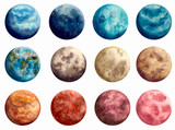 Set of Watercolor Blue and Red Planets - 164182843