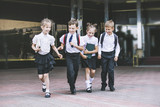 Beautiful school children active and happy on the background of school in uniform - 164184079