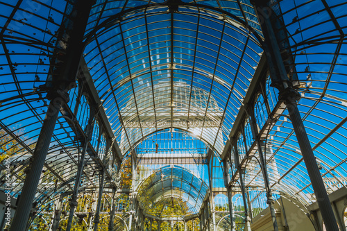 Low Angle View of Palace of Glass in Madrid