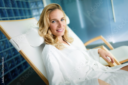 Portrait of attractive woman relaxing in spa