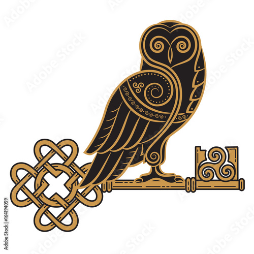 The Celtic design. Owl and key in the Celtic style, a symbol of wisdom