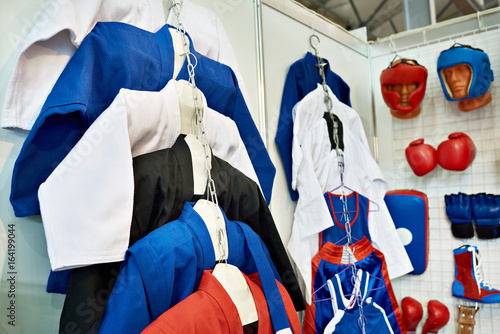 Clothing and equipment for martial arts in shop Poster