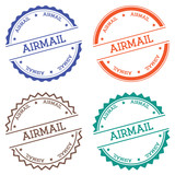 Airmail badge isolated on white background. Flat style round label with text. Circular emblem vector illustration. - 164203019