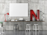 industrial decoration work space with mock up poster, 3d illustration