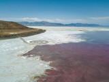 Red Great Salt Lake near Spiral Jetty
