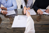 Shaking Hand With Corporate Recruitment Officers - 164226678