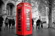 classic London phone booth b&w with red