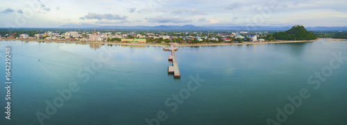 aerial view of prachuap khiri khan province and port harbor  southern of thailand