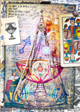 Esoteric graffiti and manuscipts with collages,symbols,draws and scraps - 164235258