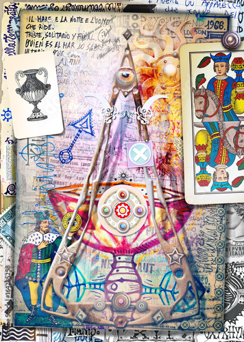 Tuinposter Imagination Esoteric graffiti and manuscipts with collages,symbols,draws and scraps