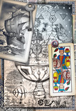 Esoteric graffiti and manuscipts with collages,symbols,draws and scraps - 164235625