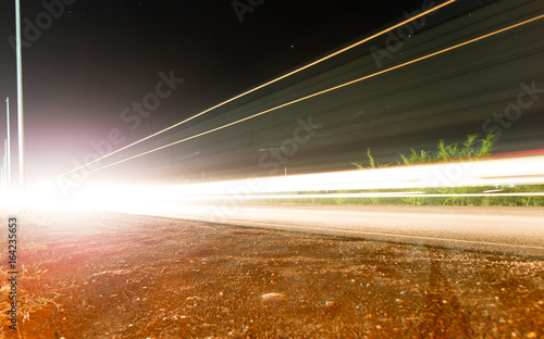 Auto on the highway at night in motion