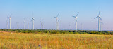 Panorama of field with indmills (Wind Generators), Bulgaria