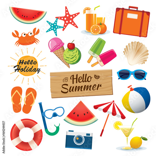 Summer object sticker icon set flat design. Can be used for banner, badges, symbol, element isolated background - 164244437