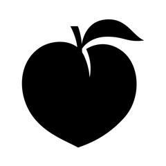 Peach fruit or nectarine with leaf flat vector icon for food apps and websites