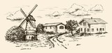 windmill, village houses and farmland - 164250476