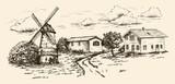 windmill, village houses and farmland - 164250476