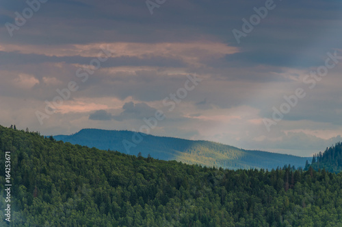 Carpathian mountains landscape in Ukraine in the summer season in Yaremche