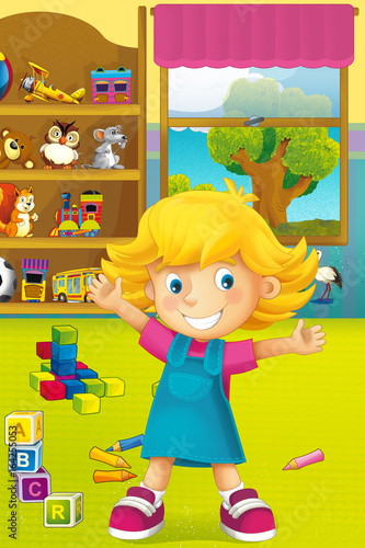 Cartoon scene with happy and funny child and wardrobe full of toys - scene for different usage - 164255053