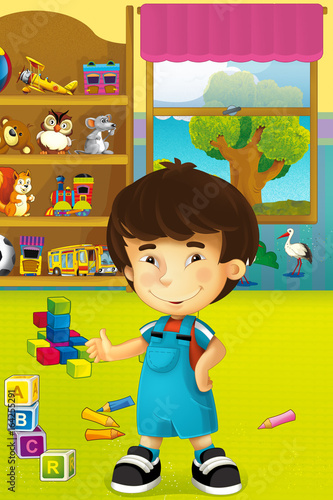 Cartoon scene with happy and funny child and wardrobe full of toys - scene for different usage - 164255291