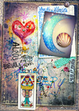 Astrologic graffiti,draws,scraps and collage with tarots,moon and red heart - 164256814