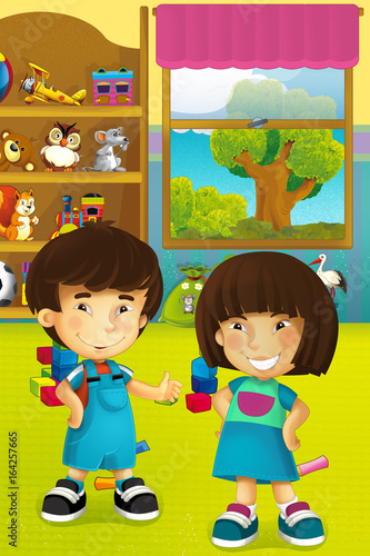 Cartoon scene with happy and funny children in some kindergarten and wardrobe full of toys - scene for different usage - 164257665