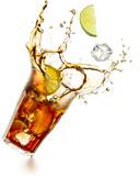 cuba libre cocktail splashing isolated on white