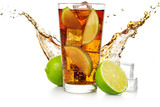 cuba libre with flowing wave, lime fruit and ice cubes