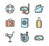 Summer vacation colored icons set 04