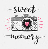 Retro photo camera with stylish lettering - Sweet memory. Vector hand drawn illustration. Print for your design. - 164267214