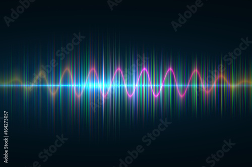 Audio digital equalizer technology, pulse musical.abstract of sound wave , light  frequencies or bright equalizer . Neon colorful digital  musical bar  for technology concept  background