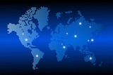 World map with dotted style and glowing points star. Gradients used. Abstract blue global technology background.