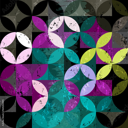 abstract geometric background pattern, retro/vintage style, with circles, strokes and splashes