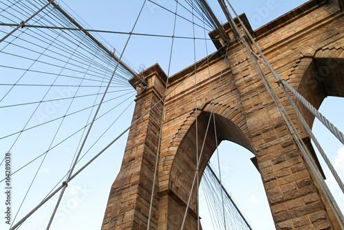 Detail of the famous Brooklyn bridge and it's cable structure