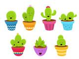 Kolekcja znaków Cute Cactus