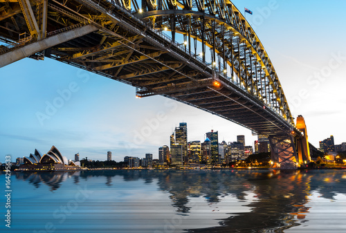 Dramatic panoramic sunset photo Sydney harbor Poster