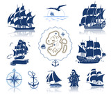 Sailing ships  silhouettes and marine symbols iconset