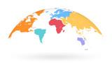 Multicolored Vector Globe Map