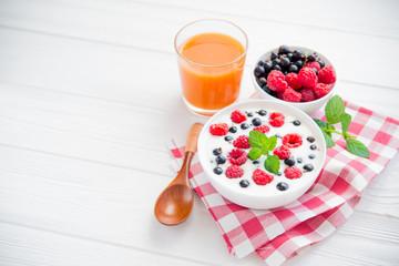 raspberry fruit and fresh mint