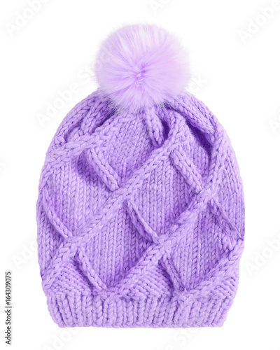 Violet winter knitted cap hat with a pom-pom isolated white