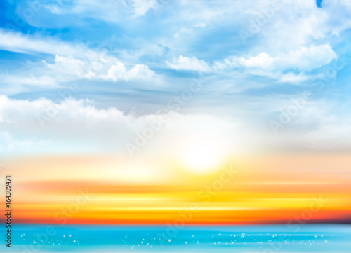 Sunset sky background with transparent clouds and sea. Vector illustration - 164309471
