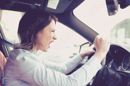 Side profile angry female driver Poster