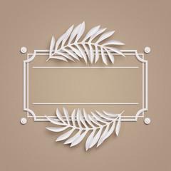 3d render, beige paper craft background, palm leaves, poster frame, cover, banner, label