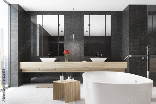 Black bathroom, tub, double sink - 164326475
