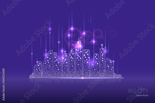City graphic composition with light effect design