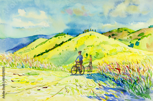 Plexiglas Geel Painting watercolor landscape of mountain hill and man,woman.