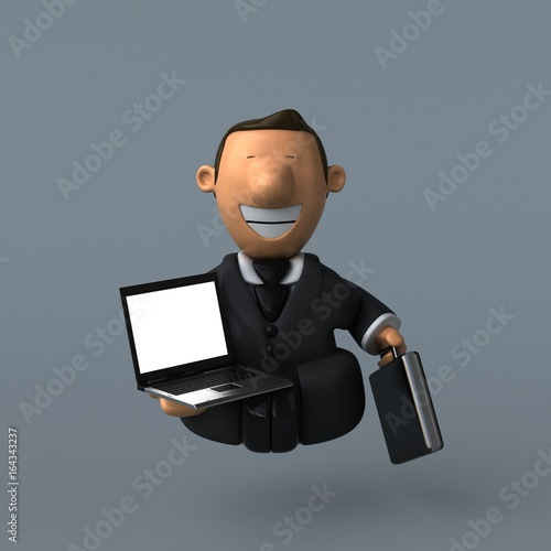 Cartoon businessman - 3D Illustration - 164343237