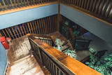 High Angle View Of wooden Staircase.